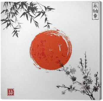 Obraz na Plátně Slunce, bambus a Sakura v květu. Tradiční japonské tušové malby sumi-e. Obsahuje hieroglyf - dvojité štěstí.