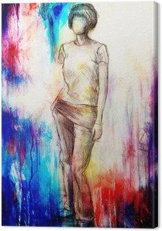 Obraz na Plátně Stojící postava žena, náčrt tužkou na papíře. Akvarel pozadí.