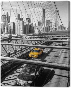 Obraz na Plátně Taxi cab přes Brooklynský most v New Yorku