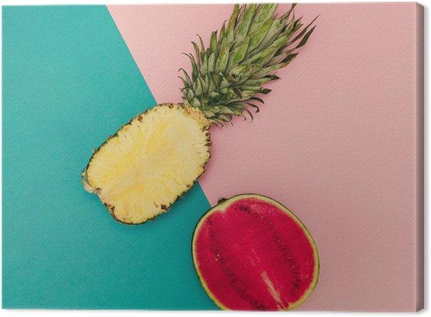 Obraz na Plátně Tropical Mix. Ananas a Meloun. minimální Style - Životní styl