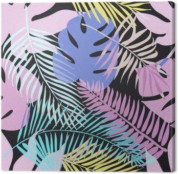 Obraz na Plátně Tropické exotické květiny a rostliny se zelenými listy palmy.
