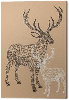 Obraz na Plátně Vánoční sob s geometrickým vzorem, vektor