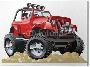 Obraz na Plátně Vector cartoon jeep na jedno kliknutí překreslit