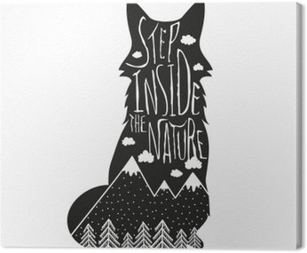 Obraz na Plátně Vector ručně kreslenou nápis ilustrace. Dovnitř přírodě. Typografie plakát s liščí, hory, borovice lesní a mraky.