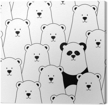 Obraz na Plátně Vektorové bezešvé vzor s bílými lední medvědi a Panda