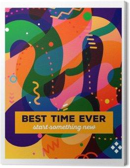 Obraz na Plátně Vektorové ilustrace barevné abstraktní kompozice s textem stáčen