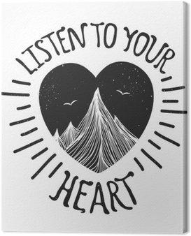 Obraz na Plátně Vektorové ilustrace s horami uvnitř srdce