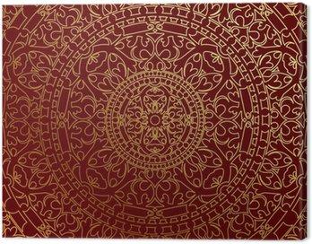Obraz na Plátně Vektorové orientální modré pozadí se zlatým ornamentem