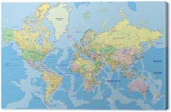 Obraz na Plátně Velmi podrobné satelitní politický svět se označování.