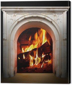 Obraz na Plátně Vintage ohniště s hořící polena. Obnovitelné zdroje energetické koncepce.