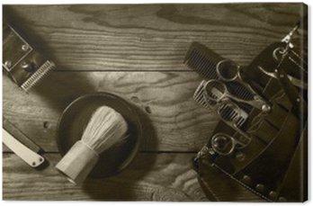 Obraz na Plátně Vintage sada Barbershop.Toning sépie
