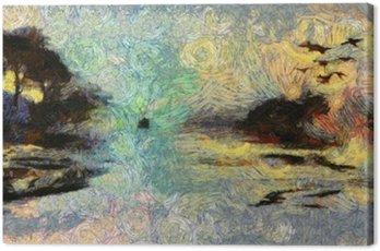 Obraz na Plátně Vivid Vířící Painting of Islands západu slunce nebo svítání