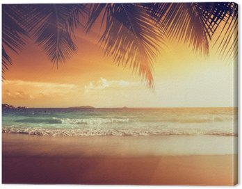 Obraz na Plátně Západ slunce na pláži Karibského moře