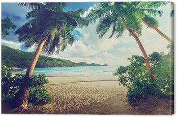 Obraz na Plátně Západ slunce na pláži, Mahe Island, Seychely