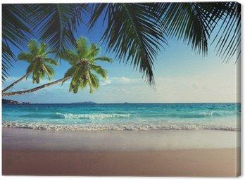 Obraz na Plátně Západ slunce na pláži Seychely