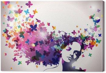 Obraz na Plátně Žena s motýly ve vlasech.