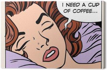 Obraz na Plátně Žena sní ranní šálek kávy