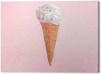 Obraz na Plátně Zmrzlina kužel na růžovém pozadí