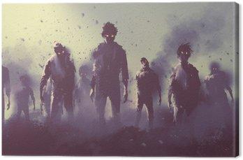 Obraz na Plátně Zombie dav chůzi v noci, Halloween koncept, ilustrace malba