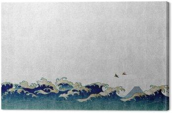 和風 背景 素材 大 波 と 渡 り 鳥