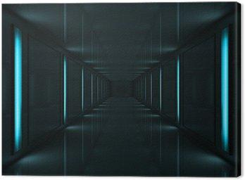 3d ciemny korytarz z lampy na ścianach niebieski