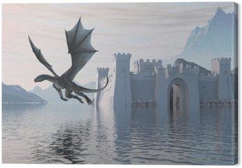 Obraz na Płótnie 3D Ilustracja zamku na wodzie i Smoka