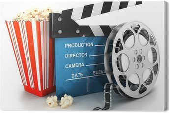 Obraz na Płótnie 3d kino klakier, taśma filmowa i popcorn