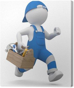 Obraz na Płótnie 3d mężczyzna rzemieślników w pośpiechu