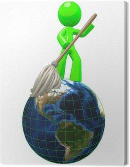 Obraz na Płótnie 3d Zielony mężczyzna mopem 3D Globe