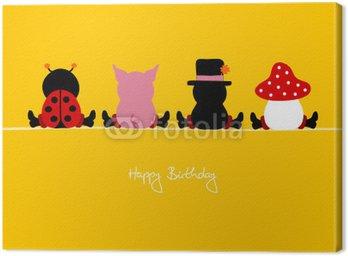 """Obraz na Płótnie """"4 siedzi komiksy urodzinowe """"""""Happy Birthday"""""""" żółty"""""""
