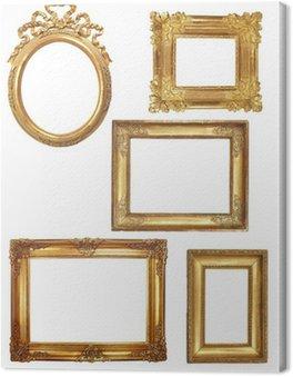 Obraz na Płótnie 5 starych złotych drewniane ramki na białym tle