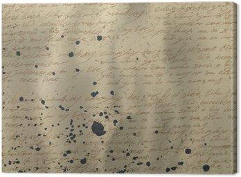 Obraz na Płótnie Abstract pisma na stary zmięty papier rocznika z tuszem splu