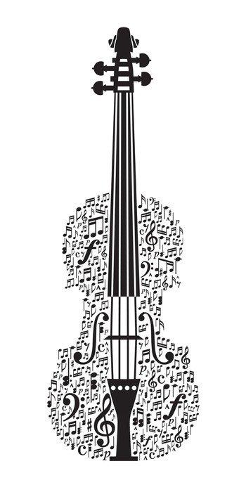 Obraz na Płótnie Abstract skrzypce i symbole muzyczne