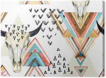 Obraz na Płótnie Abstrakcyjna Akwarele zwierząt czaszki i ornamentem geometrycznym szwu.
