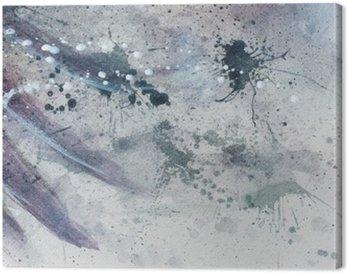 Obraz na Płótnie Abstrakcyjne malarstwo z rozmyte i poplamione strukturze z delikatnym piór sylwetki.