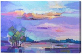 Abstrakcyjny obraz olejny pejzaż tła. Kolorowe żółte i fioletowe niebo. obraz olejny na płótnie krajobrazu na zewnątrz. Semi abstrakcyjne drzewa, wzgórza i pola, łąki. Zachód słońca pejzaż w tle
