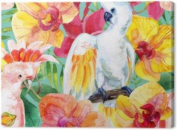 Obraz na Płótnie Akwarela australijski Kakadu szwu wzór