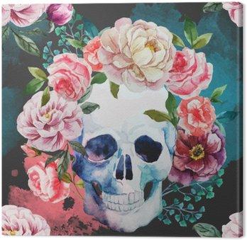 Obraz na Płótnie Akwarela czaszki
