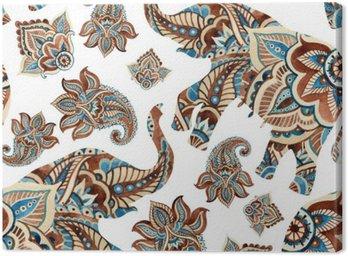 Obraz na Płótnie Akwarela etnicznej słonia z elementami Paisley tle.