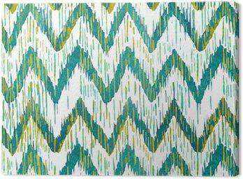 Obraz na Płótnie Akwarela Ikat Chevron szwu wzór. Zielony i niebieski akwarela. Czeski kolekcji etnicznej.