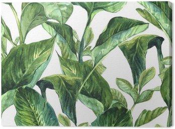 Obraz na Płótnie Akwarela Jednolite tło z tropikalnych liści