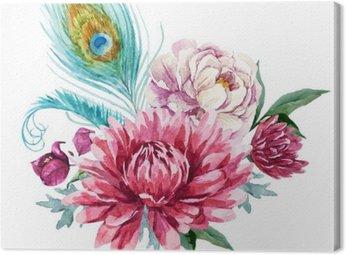 Obraz na Płótnie Akwarela kompozycji kwiatowych