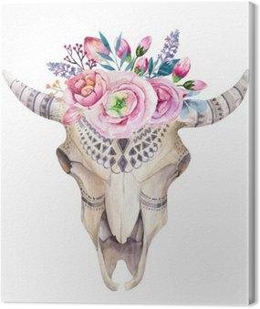 Akwarela krowy czaszki z kwiatów i piór dekoracji. Boho