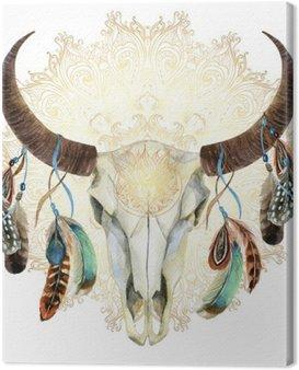 Obraz na Płótnie Akwarela krowy czaszki z piór