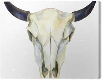 Obraz na Płótnie Akwarela krowy czaszki