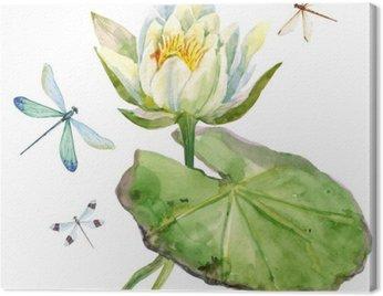Obraz na Płótnie Akwarela kwiat lotosu