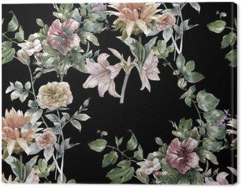 Obraz na Płótnie Akwarela liści i kwiatów, szwu na ciemnym tle,