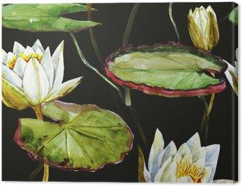 Obraz na Płótnie Akwarela lotosu wzór