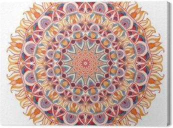 Obraz na Płótnie Akwarela mandali z świętej geometrii. Ozdobne koronki na białym tle.