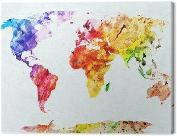 Obraz na Płótnie Akwarela mapa świata